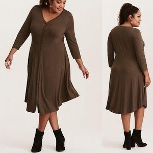 1X Torrid Olive Button Front Knit Shirt Dress